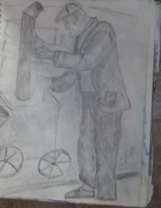 Street Vendor 1930s, pencil on paper.
