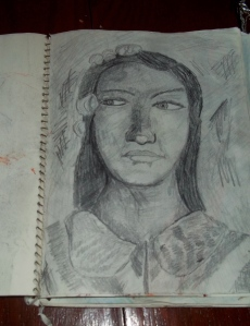 Reproduction, Paul Gauguin, Ancestors of Tehamana, pencil on paper