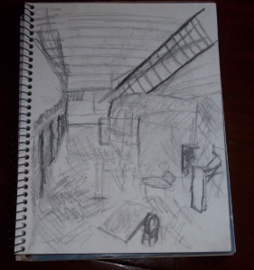 psychiatric hospital, sketch of interior/common area.