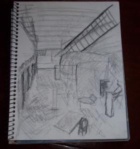 psychiatric hospital, sketch of interior/common area.