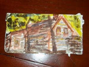"The Peak House, acrylic on card board, 5"" x 7 1/2"" $20"
