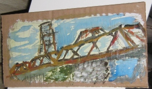Livingston Ave train Trestle, Albany, NY. Acrylic on gessoed cardboard approx 5