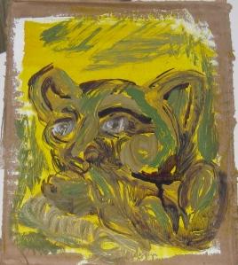 Gargoyle, study. Acrylic on gessoed cardboard, approx 7