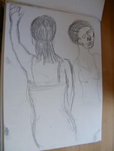 Figure studies, club dancers, pencil