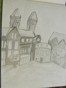 Quick sketch before class. Rear of Buffalo State Psychiatric Center (Richardson-Olmstead complex) pencil on paper.