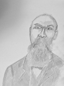 "Drawing from cabinet photo, bearded gentleman, marked ""DeWitt"""