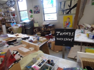 Tommy, who works in wood, has a dedicated space for his projects.