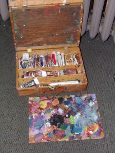 My own (very battered) personal paint box.