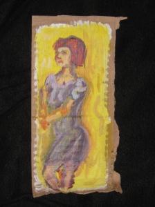 """Unknown club dancer, acrylic on gessoed cardboard. 5"""" x 8"""""""