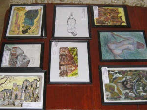 Several of the small works together that were recently in the show.