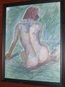 Figure Study, colored pencil on paper